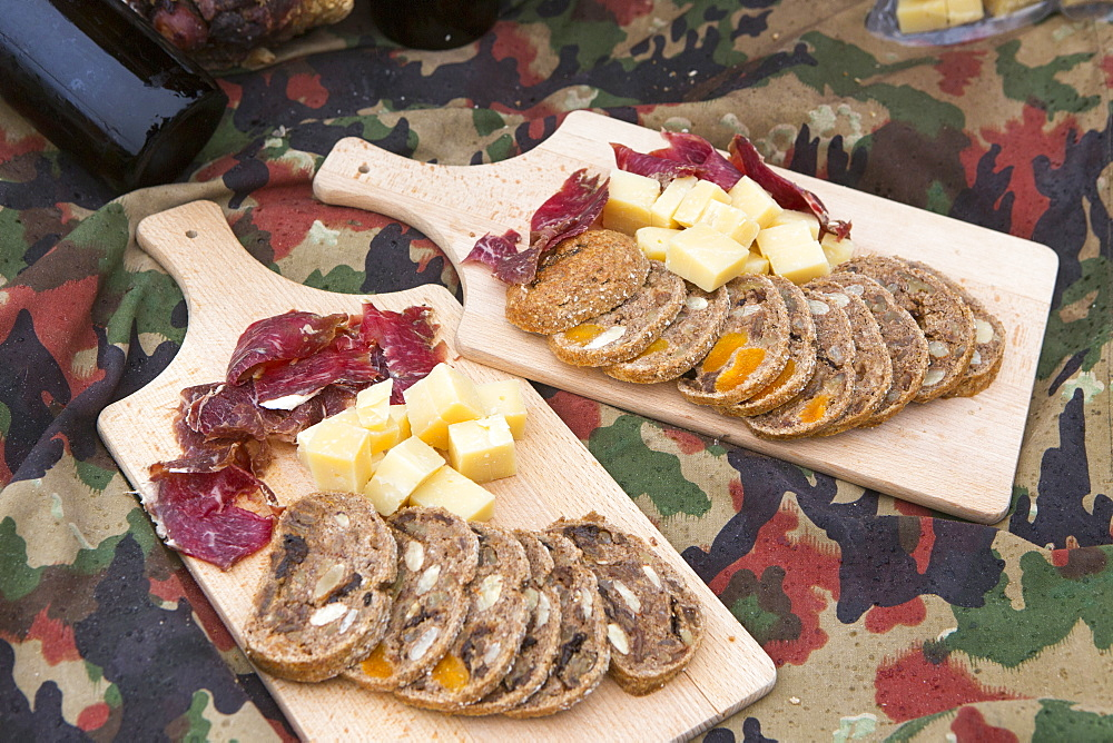 Dried meat, Swiss cheese and bread served in Swiss Alps, Zermatt, Valais, Switzerland