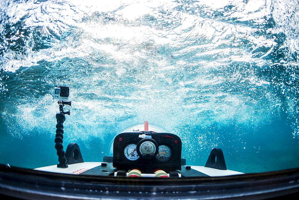 Underwater view from rear cockpit of personal submarine, Lake Tahoe, California, USA - 857-94857