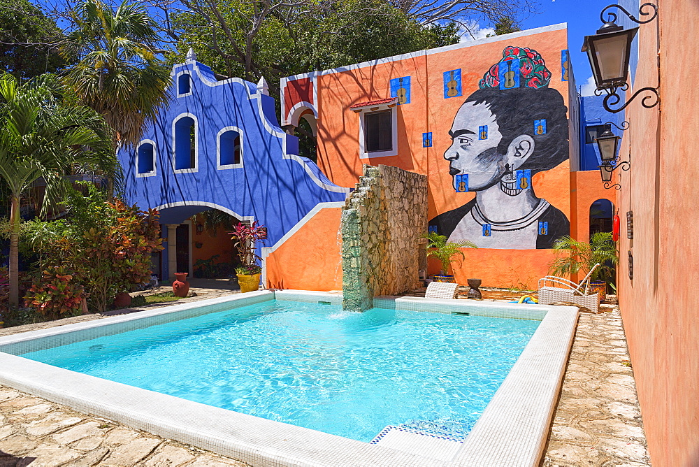 Hotel with mural and swimming pool, Playa del Carmen, Mayan Riviera, Yucatan Peninsula, Quintana Roo, Mexico