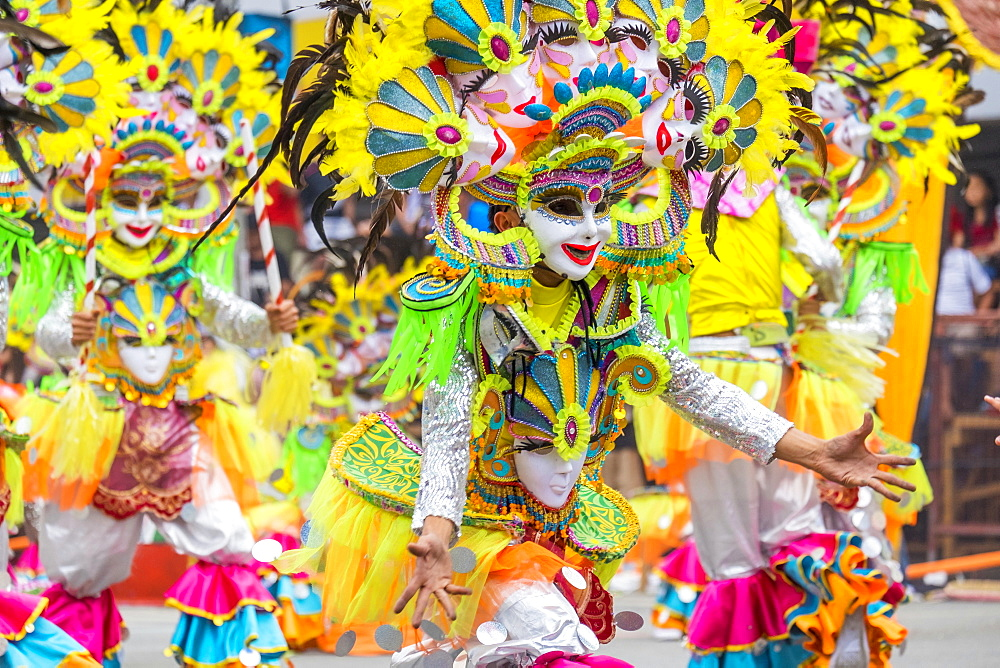 Masked dancers at Dinagyang Festival, Iloilo, Philippines