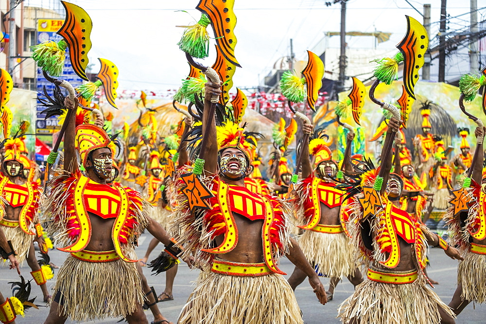 Ati warriors dancing at Dinagyang Festival, Iloilo, Philippines