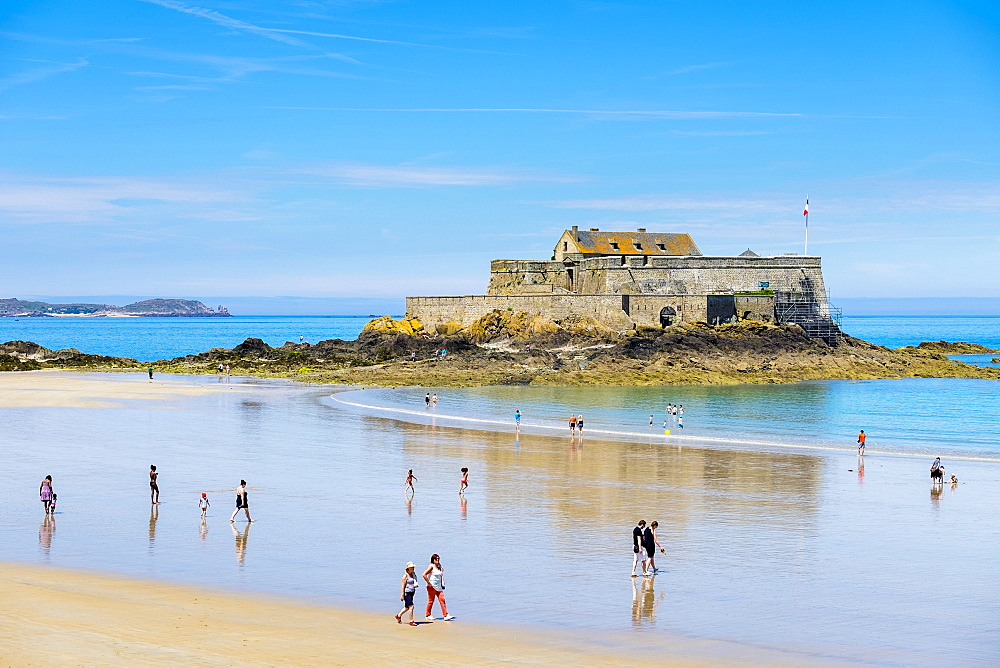Fort National and the beach at Saint-Malo, Bretagne, France