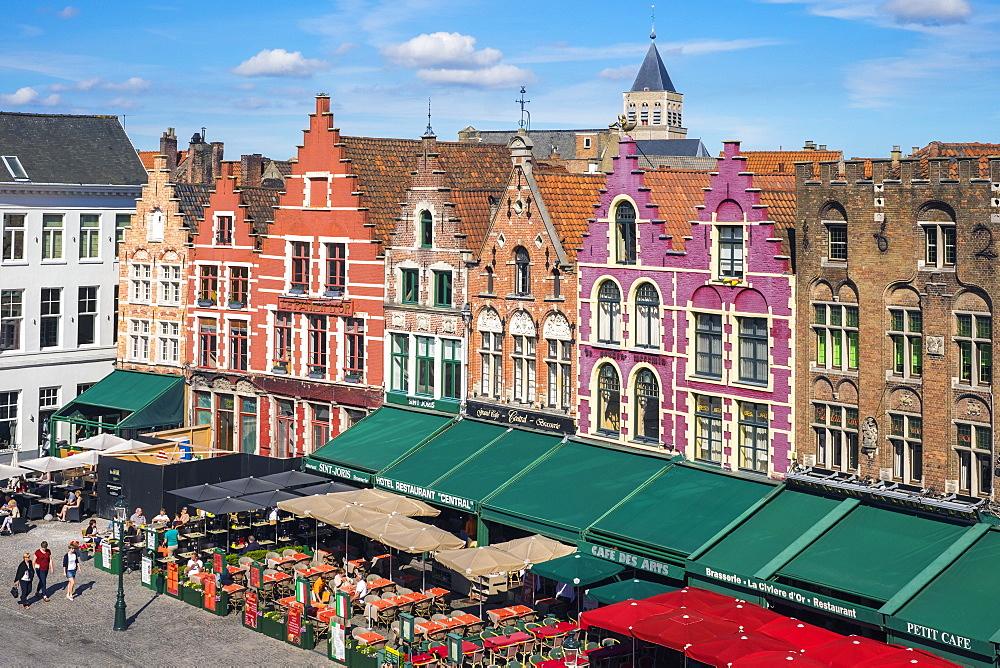 Medieval guild houses on Markt square, Bruges, West Flanders, Belgium