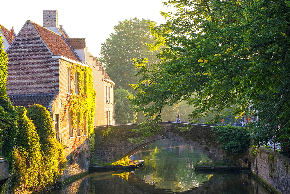 Buildings along Groenerei canal, Bruges, West Flanders, Belgium
