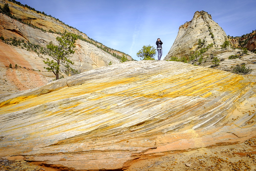 Female hiker standing on rock formation in Zion National Park, Utah, USA