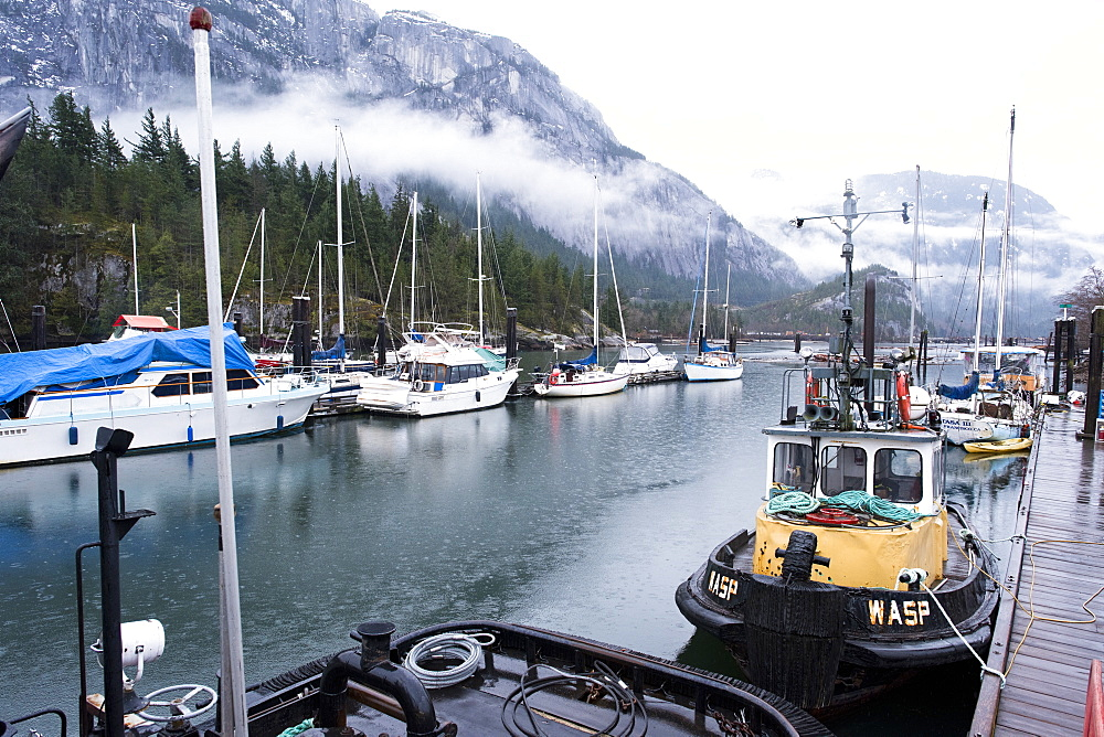 View of harbor with sailboats and fishing boats of Squamish, British Columbia, Canada