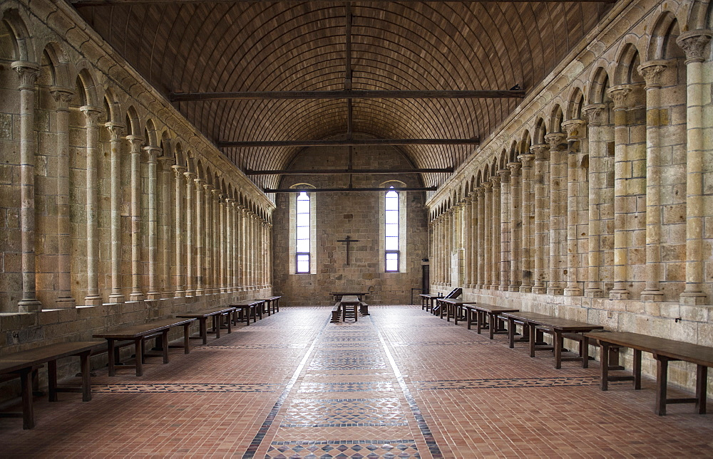 Photograph of interior of dining hall in monastery of Mont Saint-Michel, Normandy, France