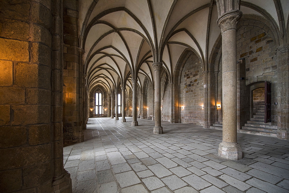 Interior of hallway with ribbed vaulting in monastery of Mont Saint-Michel, Normandy, France