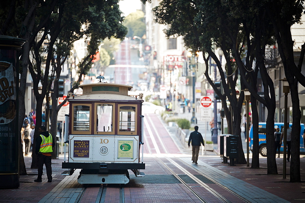 Street view with cable car, San Francisco, California, USA