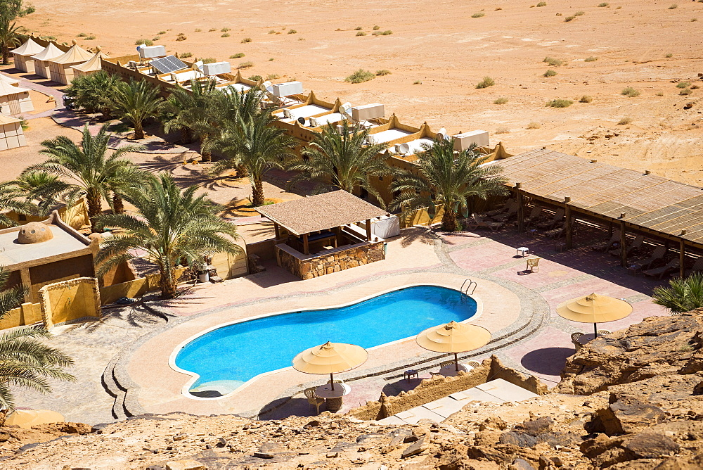 Aerial view of pool at Bait Ali Camp, a traditional Bedouin Arabic camp in Wadi Rum Village, Aqaba Governorate, Jordan - 857-95511