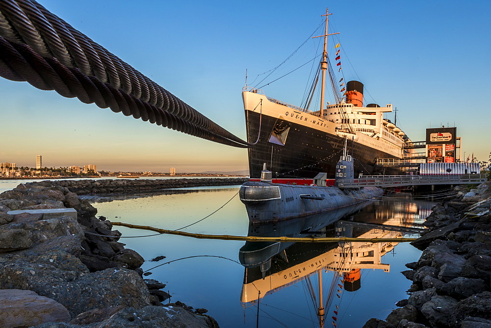 View of moored cruise ship under clear sky at sunset, Long Beach, California, USA