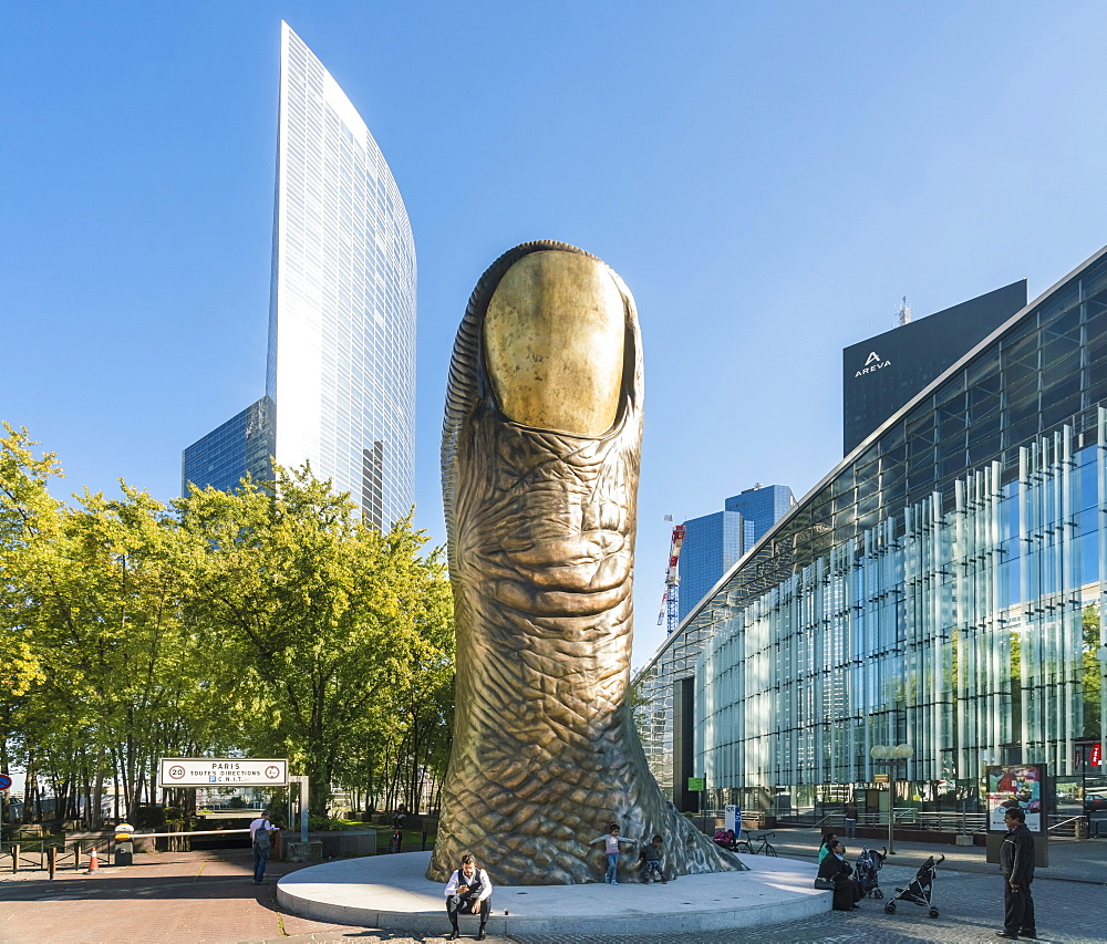 Cityscape of Paris with Le Pouce, thumb sculpture, La Defense, Paris, France