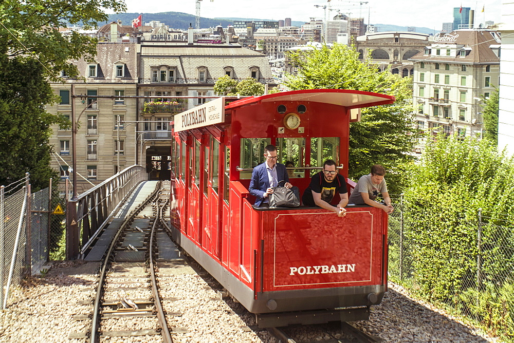 People riding Polybahn near Polybahn Central station at old city, Zurich, Switzerland