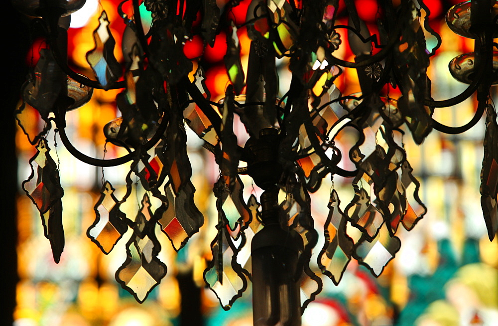 Close up of chandelier against blurred background in San Sebastian Church, only all-steel church in Asia, Manila, Philippines
