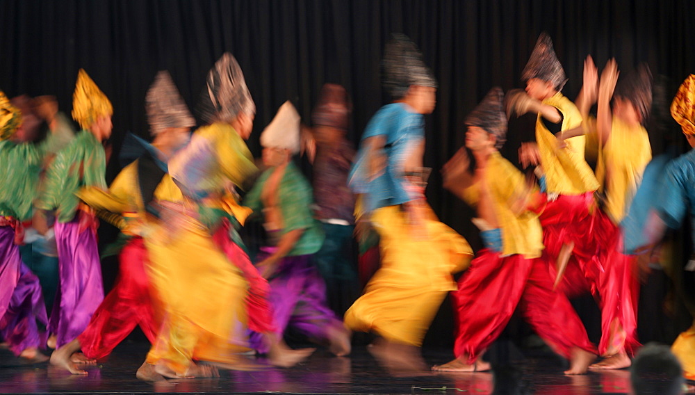 Large group of Muslim dancers on stage, Villa Escudero, Manila, Laguna, Luzon Island, Philippines