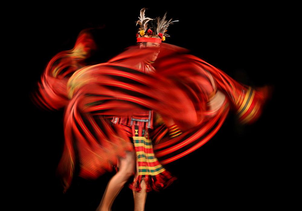 Ifugao tribesman dancing against black background, Banaue, Ifugao, Philippines - 857-95682