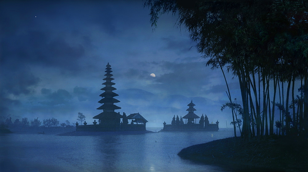 Night view of moon over Ulu Danu temple in Lake Bratan, Bedugul, Bali Indonesia