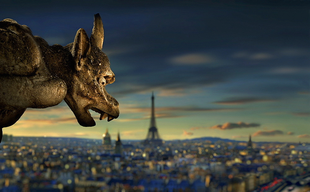 Gargoyle of Notre Dame in front of Paris skyline with Eiffel Tower at sunset, Paris, Ile-de-France, France