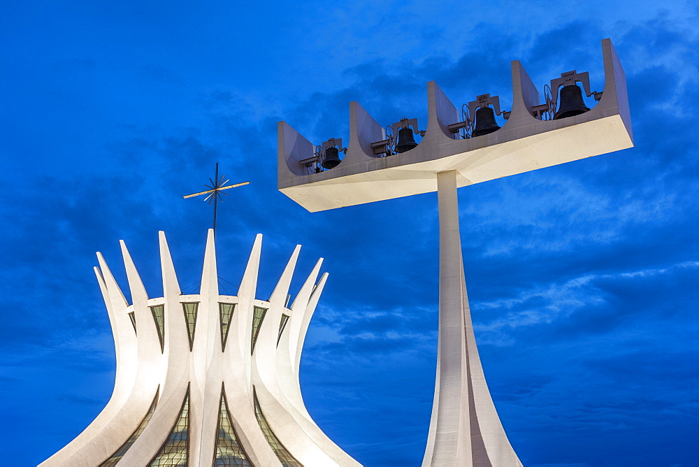 Brasilia Cathedral exterior with bell tower at dusk, Brasilia, Brazil