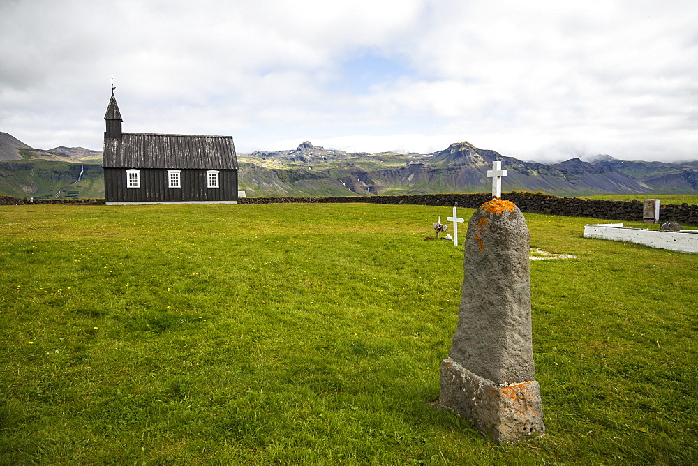 The Budakirkja, commonly known as Iceland's Black Church, is a landmark in the town of Budir on the Snaeffelsnes Peninsula, Iceland - 857-95991