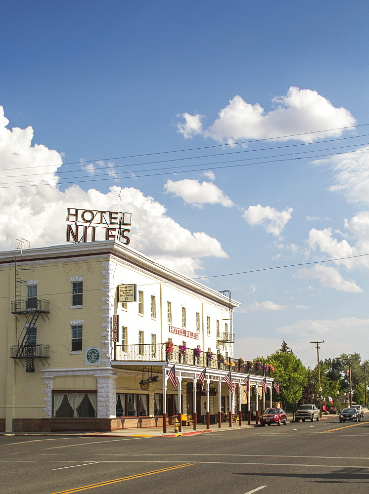 View of exterior of hotel on street, Alturas, California, USA
