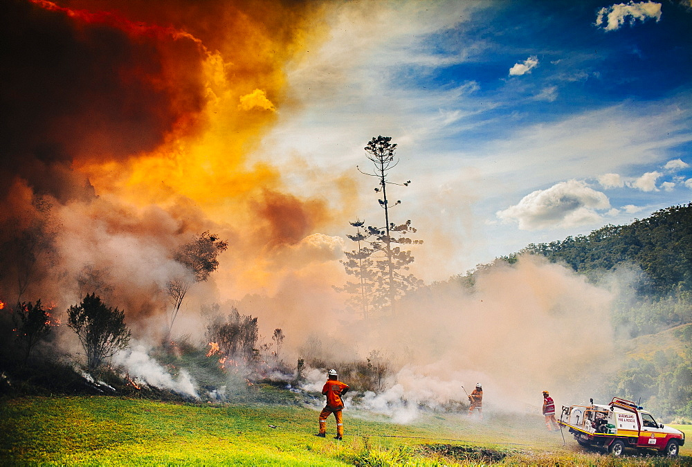 Firefighters conducting a hazard mitigation burn near Mount Tamborine, Queensland, Australia.