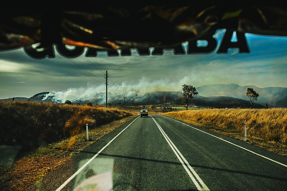 View from fire engine approaching bush fire, Esk, Queensland, Australia - 857-96045