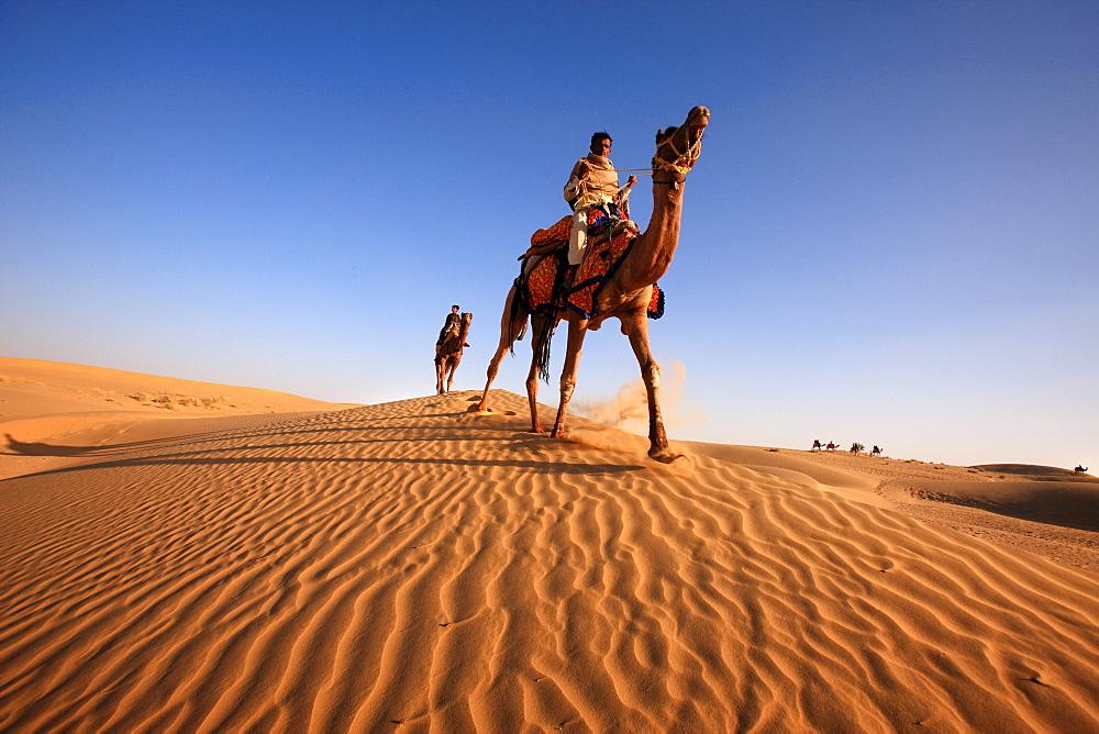 Camel riders during the Desert Festival in Jaisalmer, India