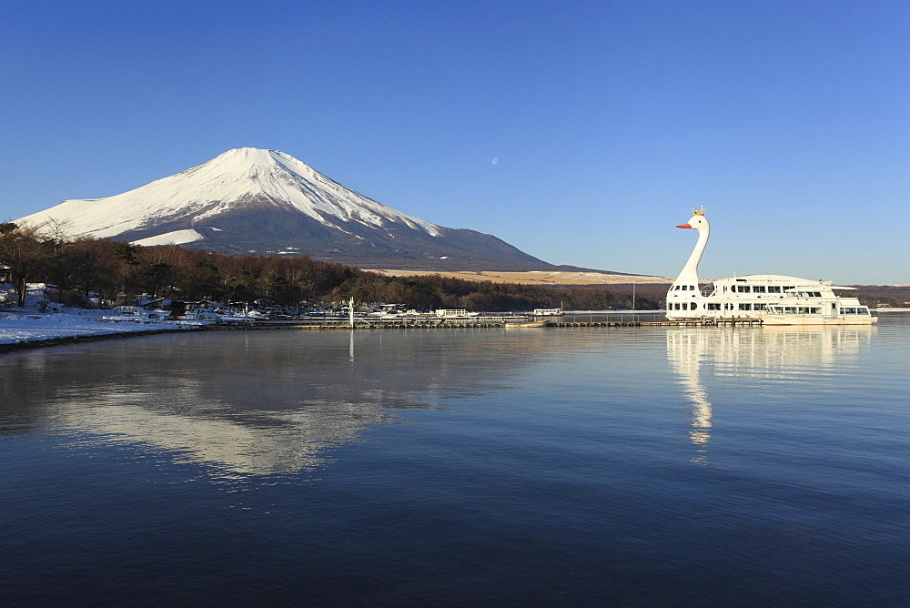 Swan boat on Lake Yamanaka and Mount Fuji, Honshu, Japan.