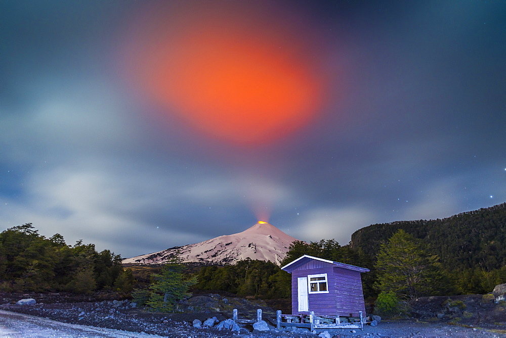 Volcan Villarrica. Pucon, Araucania, Chile. The Villarrica volcano is the most dangerous volcano in Chile, its last eruption occurred in March 2015. On its slopes you can practice many activities like skiing, trekking and mountaineering. In the photograph