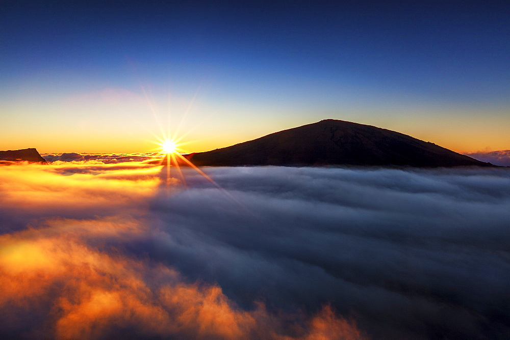 Sunrise on Piton de la Fournaise volcano, Reunion