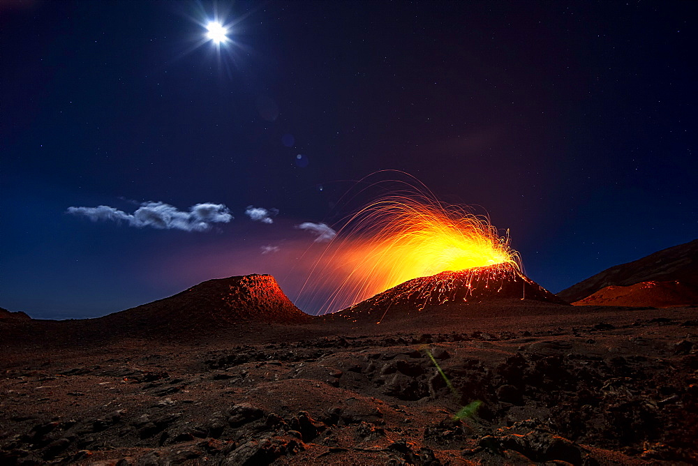 Piton de la Fournaise in activity, Volcano eruption of July 31, 2015, Reunion