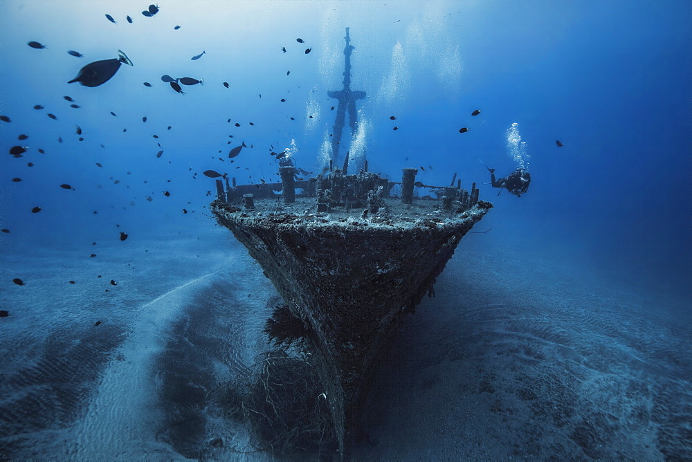 Diver and the wreck of Hai Siang sliding by 55 m deep, Indian Ocean, Reunion