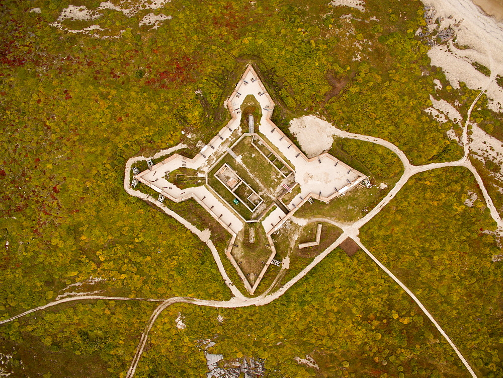Aerial view of Prince of Wales Fort along coast of Hudson Bay, Churchill, Manitoba, Canada
