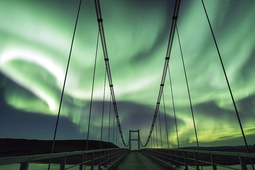 Northern Lights and Bridge J?kuls?, Iceland