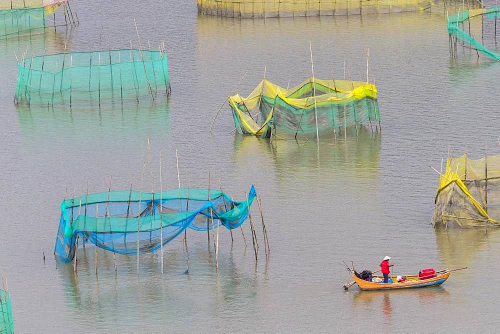 Cages with nets for raising fish in open sea, Fish Farming, cages under construction, Xiapu County, Fujiang Province, China