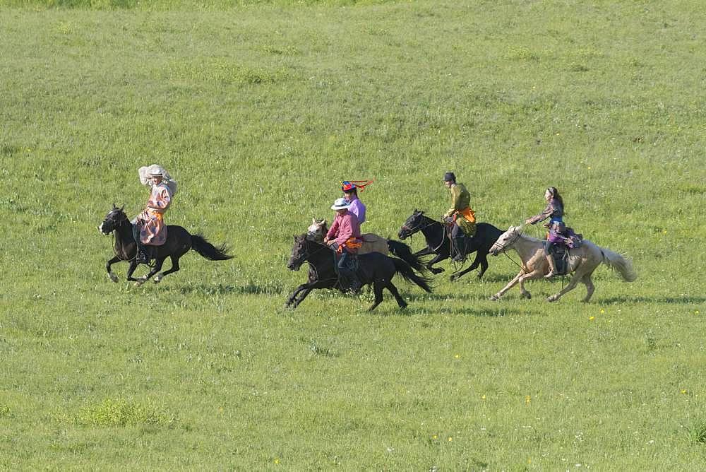 Mongolians traditionnaly dressed on a horse, traditional exercise of address, Bashang Grassland, Zhangjiakou, Hebei Province, Inner Mongolia, China