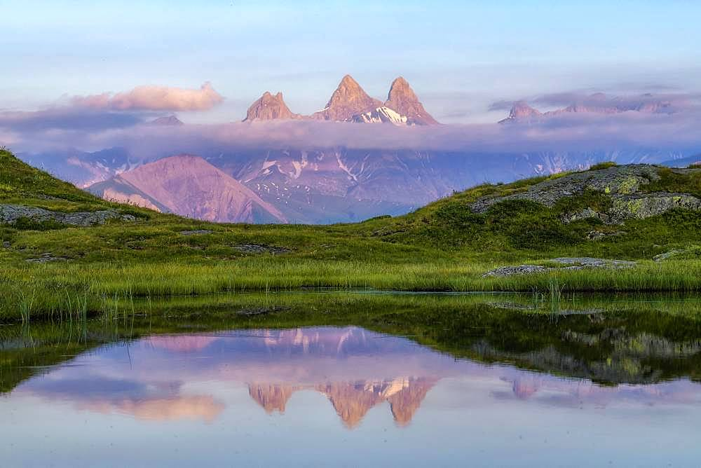 Aiguilles d'Arves and Lake Guichard, Iron Cross Pass, Maurienne, Savoie, Alps, France