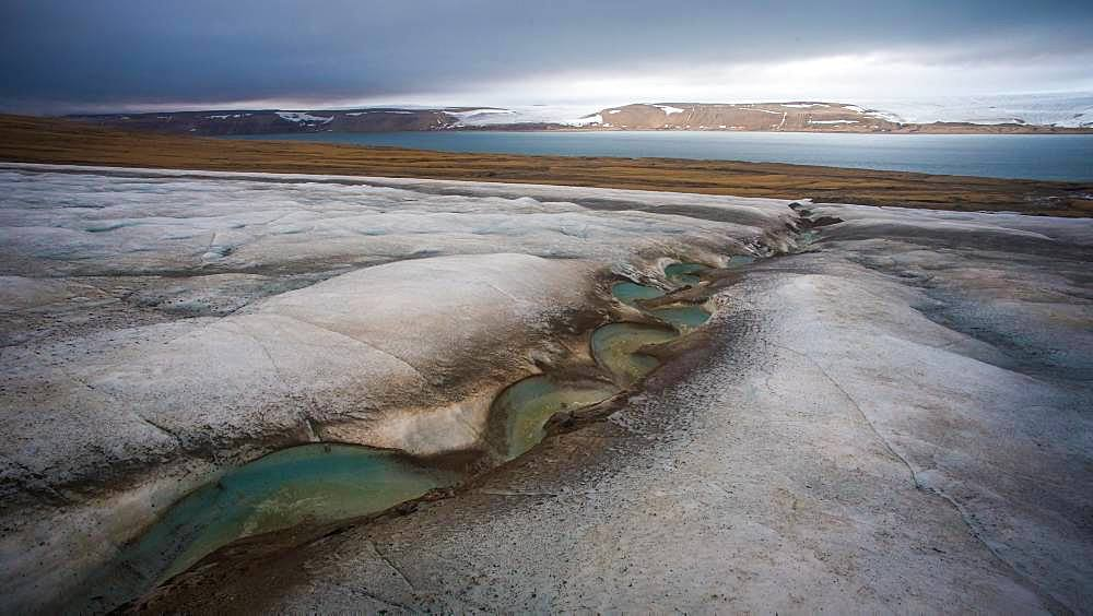 Glacial stream on the surface of a glacier, Svalbard