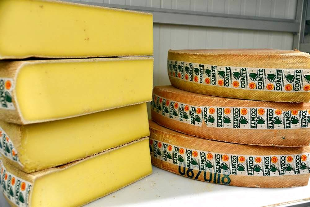 Comte cheese making, Cheese cut, Cheese factory, Damprichard, Doubs, France
