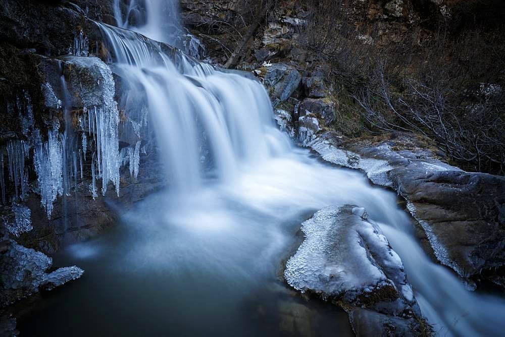 Cascade du Saut du Laire on the Drac, Prapic, Champsaur Valley, ecrins National Park, Orcieres Merlette, Hautes-Alpes, France