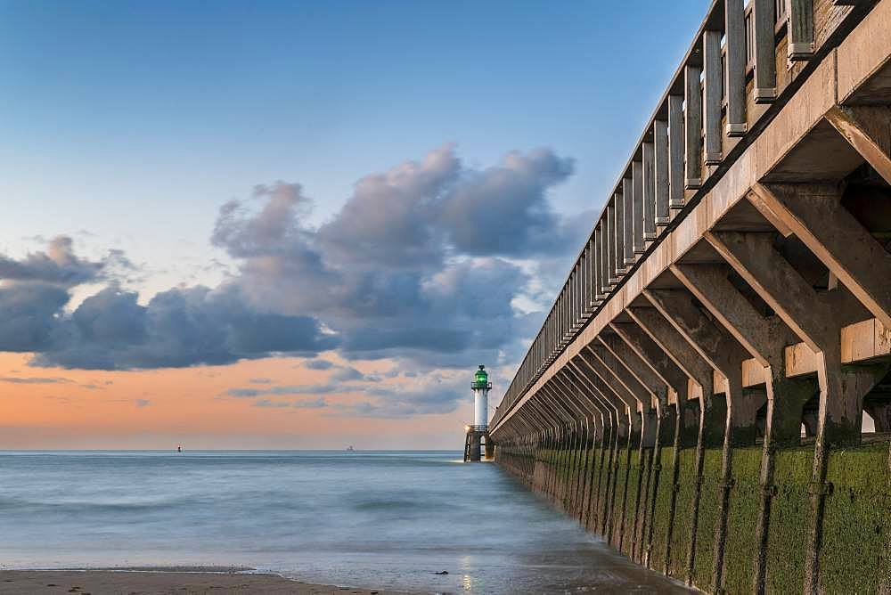 Calais pier at sunset, Hauts-de-France, France