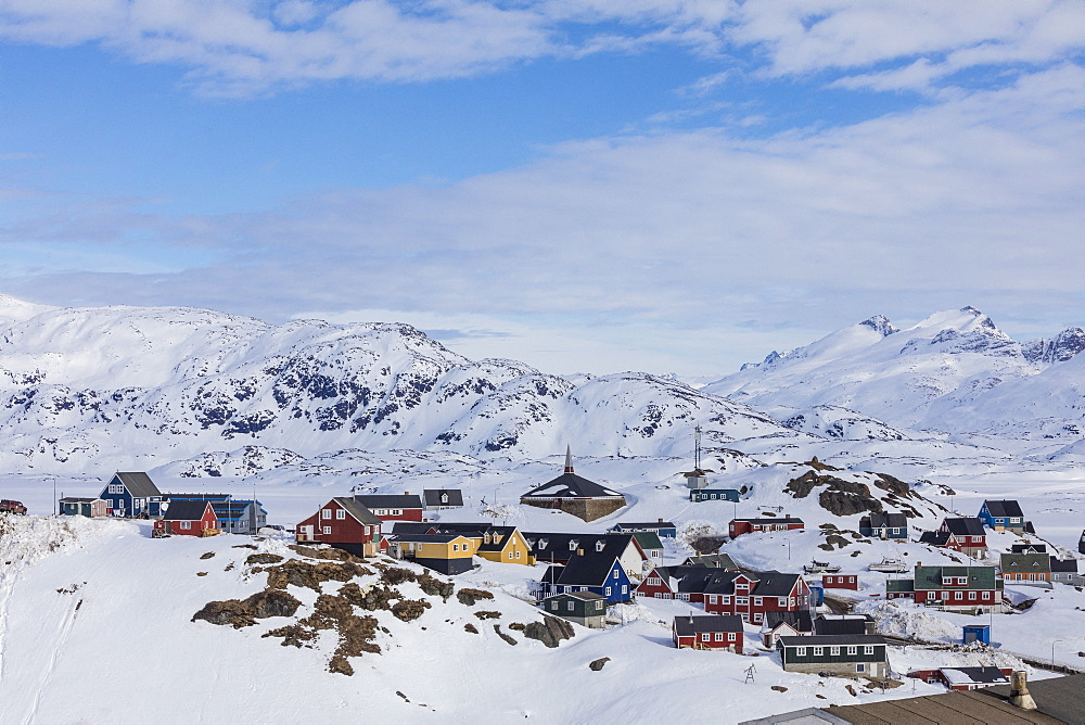 The small village of Tasiilaq during winter it can only be reached with helicopter, East Greenland