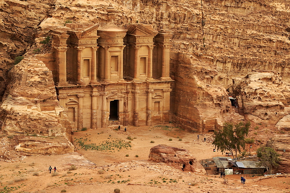 The Deir and its esplanade. The monastery of the ancient city of Petra in Jordan