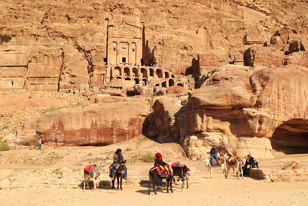 Riders in the ancient city of Petra in Jordan - 860-288050