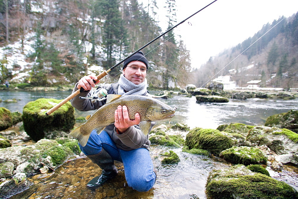 Trout fishing on the Doubs river, Catch a big wild trout, Goumois, Doubs, Franche-Comté, France