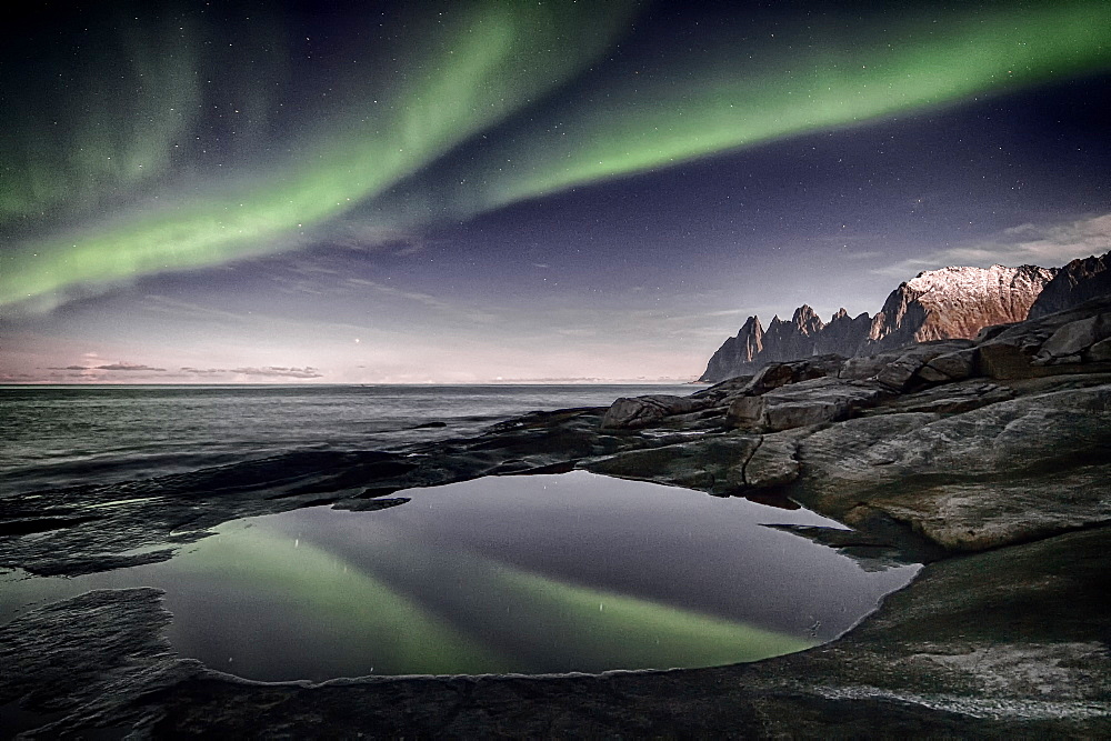 Aurora borealis, Devil's teeth, Senja, Troms, Norway