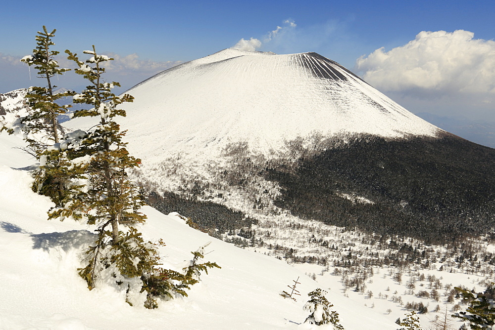 Asama active volcano covered with snow on Honshu Island, Japan.