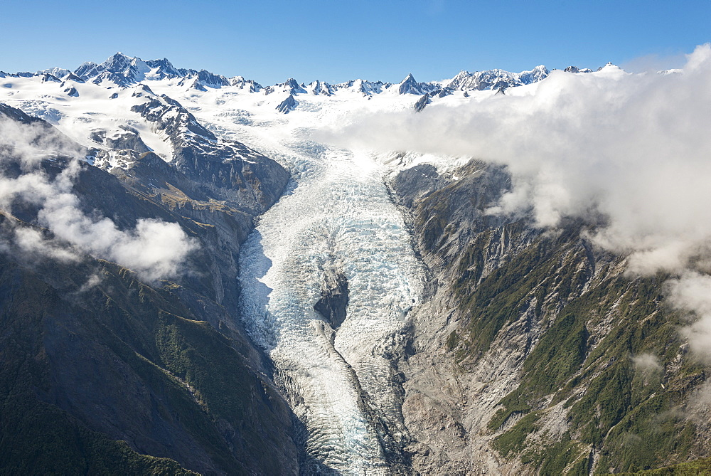 Franz Josef Glacier, aerial view, Westcoast, South Island, New Zealand