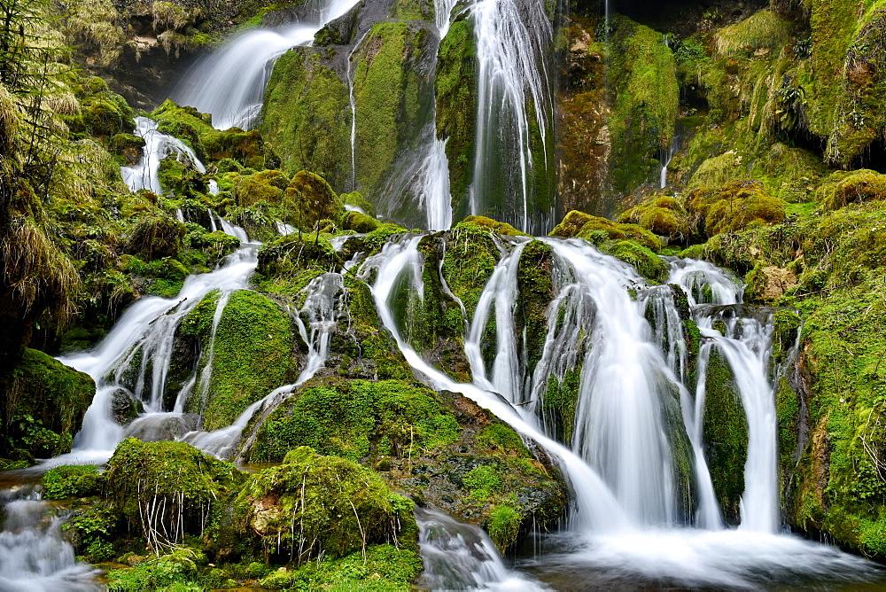 Mill Vermondans Waterfall in winter, Doubs, France